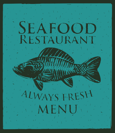 Vector banner with a picture of fish and seafood restaurant sign Vector
