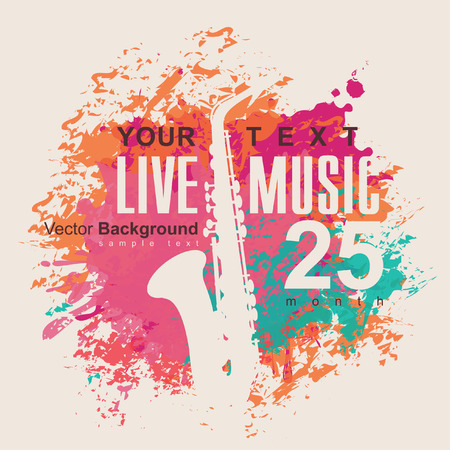 live music: banner with an saxophone on grungy color background