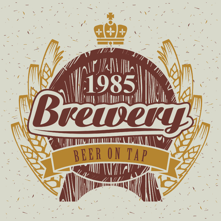 the brewery with a barrel of beer and wheat ears Vector