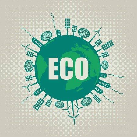 eco banner of alternative energy sources and Ear Vector