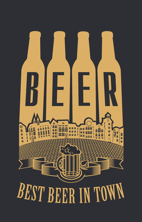 four bottles of beer with an inscription in the old town Illustration
