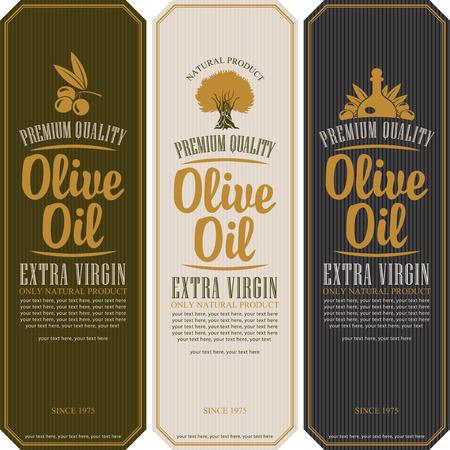 italienisches essen: Set von Etiketten für Olivenöl Illustration