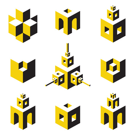 built tower: set of abstract symbols on construction topics Illustration