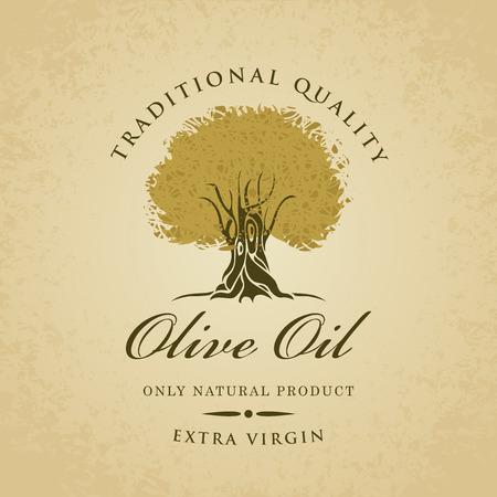 olivo arbol: bandera con el olivo y el aceite de oliva etiquetado