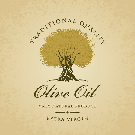 olive trees: banner with olive tree and olive oil labeled