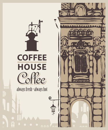 Cover menu for coffee house with a picture of the old town Vector