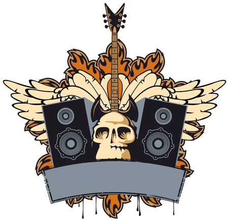 emblem with an electric guitar speakers wings and human skull Vector