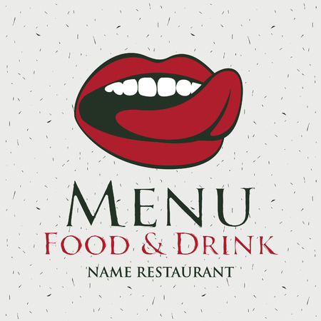 man and woman sex: menu for the restaurant with a picture of the human mouth to lick Illustration