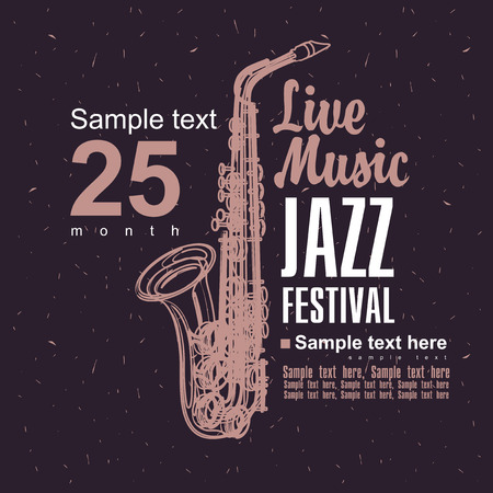 Music poster with a picture of a saxophone jazz festival Stock Illustratie