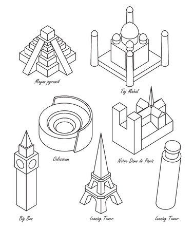 notre: set of schematic drawings of various architectural landmarks