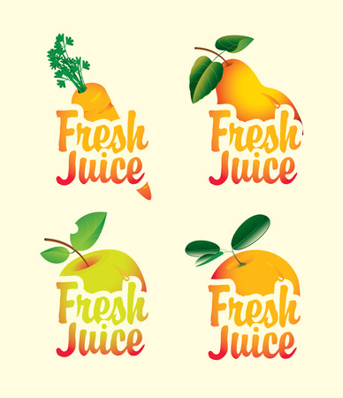 apple orange: set of fresh juices with pictures of fruit Illustration