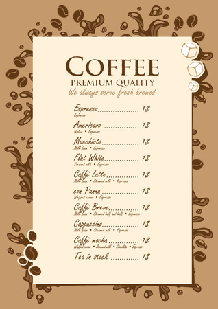 menu list for hot drinks with splashes of coffee Vector