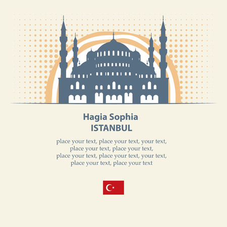 hagia sophia: banner with a picture of the hagia sophia on the background of the sun