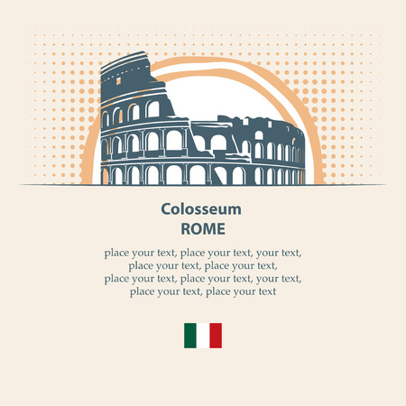rome: the image of the Colosseum on the background of the sun