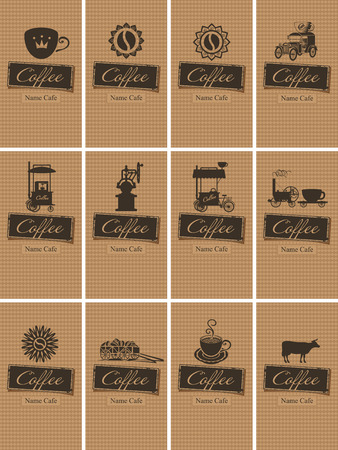 coffee mill: set of vintage cards on coffee