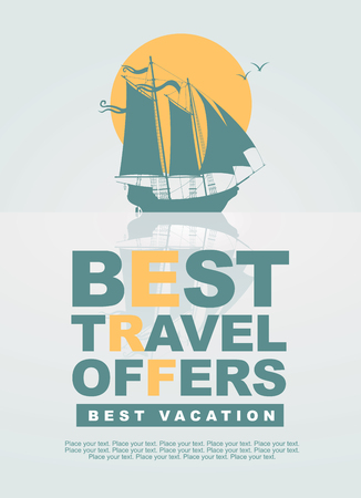 banners with sailing yacht at sea and the inscription best travel offers Vector