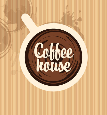 background coffee: top view of a cup of coffee with the words Coffee House