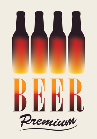 stout: Vector banner with four bottles of beer Illustration