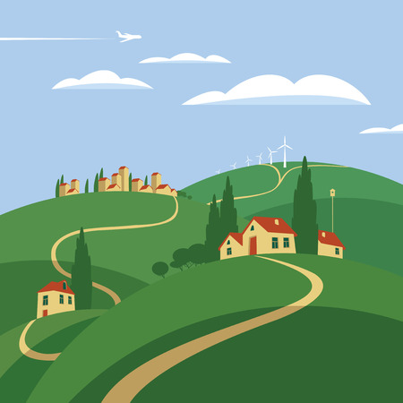 weathercock: summer landscape with houses in the hills Illustration