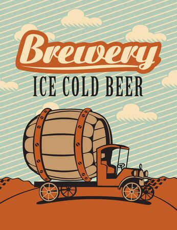 Banner with cars brewery in a landscape with text Vector