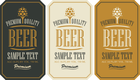 set labels for beer in a retro style with malt