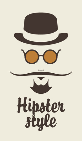 style goatee: Portree hipster man with a mustache hat and glasses