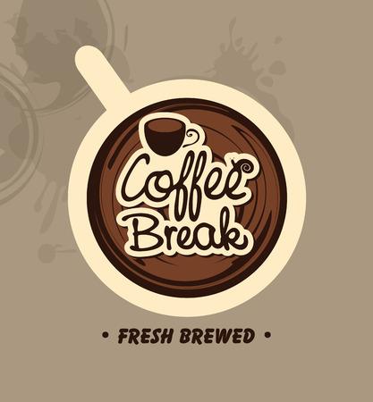 Draufsicht auf eine Tasse Kaffee mit den Worten: Kaffeepause