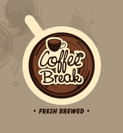 break: top view of a cup of coffee with the words Coffee Break