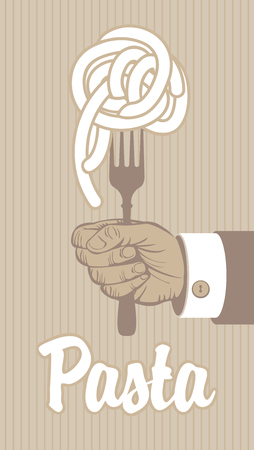pasta fork: banner with pasta on fork in a hand Illustration