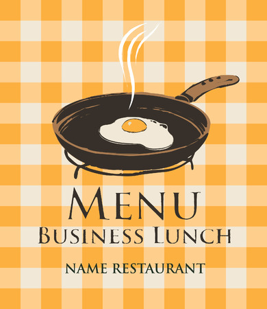 pans: business lunch with a frying pan and fried eggs on the background of a checkered tablecloth Illustration