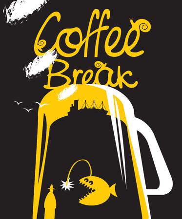 deep sea: cup of coffee and deep sea fish and steamer