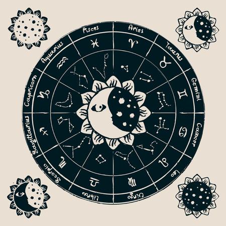 constelaciones: zodiaco con el sol, la luna y las constelaciones