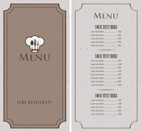 toque: menu for a cafe or restaurant with toque and cutlery