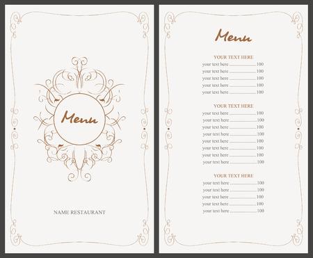 retro restaurant: menu for the restaurant in retro style