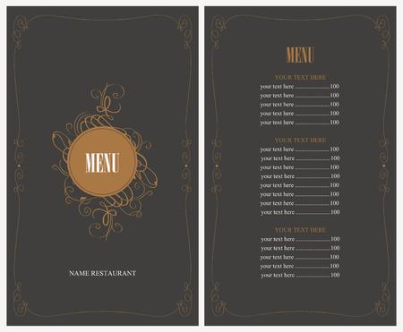 menu de postres: men� para el restaurante en estilo retro