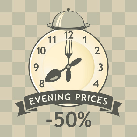 discount poster: banner advertising discount evening in a restaurant with a clock and cutlery