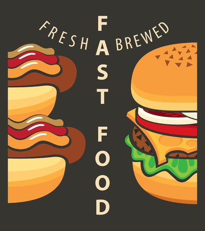 onion slice: Vector banner with fast food hamburger and hot dog Illustration