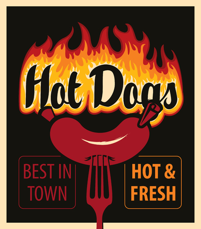 vector banner with hot dog in retro style sausage on fork