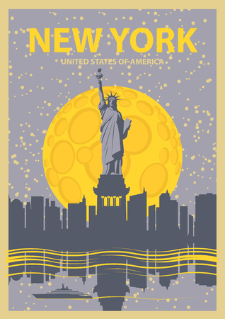 city at night: banner with of New York City, Statue of Liberty at night under the moon