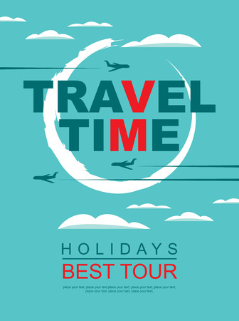 travel agencies: banner for travel agencies with a pattern of aircraft in the sky