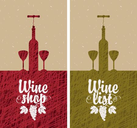 uvas: banner con botella de vino, dos vasos, y la vid