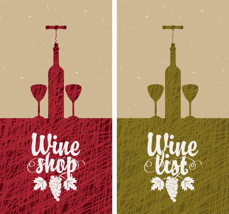 wine glass: banner with bottle of wine, two glasses, and vine