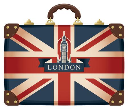 valise voyage: Voyage valise avec le drapeau de la Grande-Bretagne et Big Ben