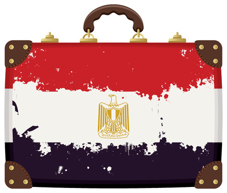 old suitcase: Vector Travel suitcase with a Egyptian flag Illustration