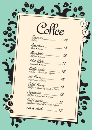 hot drinks: menu list for hot drinks with splashes of coffee