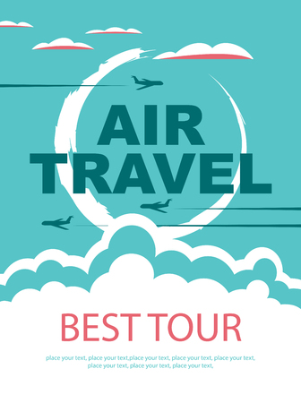 air travel: banner for air travel with the aircraft in the sky