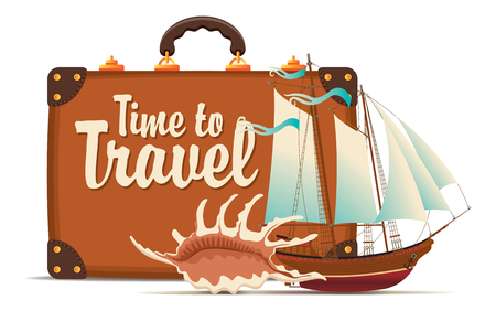 Vector still life with a suitcase, sailboat and seashells on a tourist theme