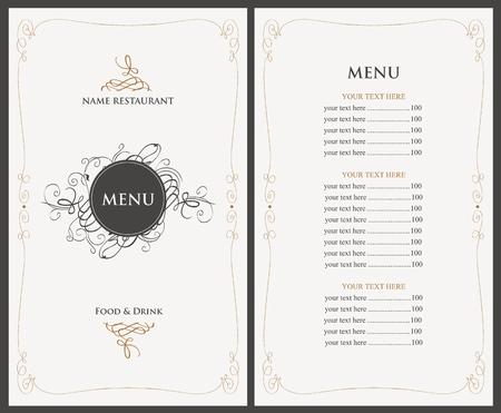 speisekarte: Menü für das Restaurant im Retro-Stil