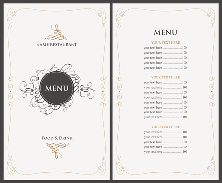 food menu: menu for the restaurant in retro style