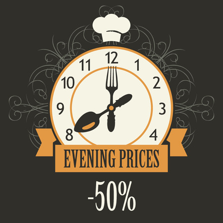 expensive food: banner advertising discount evening in a restaurant with a clock and cutlery